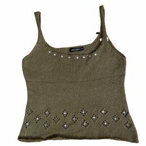Women's Olive Green Knit Embellished Top Med - Lrg